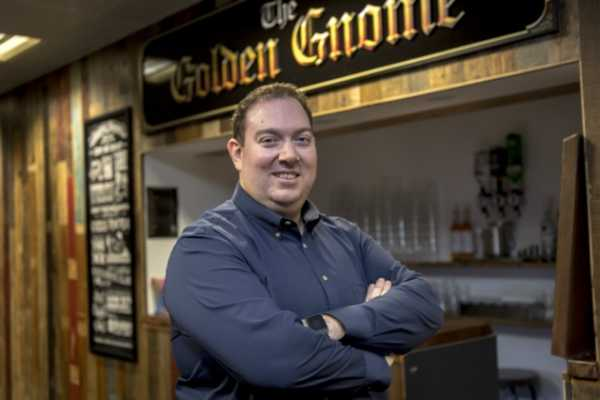 Jagex's CEO Phil Mansell at the company's in-house bar. Picture: Keith Heppell